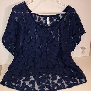Blue See-Through Shirt w/ Flowers